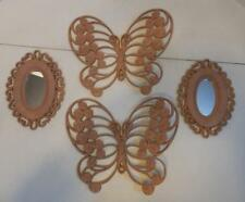 VTG HOME INTERIOR 2 PINK PLASTIC BUTTERFLY WALL PLAQUES AND 2 OVAL WALL MIRRORS