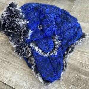 THE CHILDREN'S PLACE Hat Large 4T/5T BOY BLUE QUILTED FAUX FUR  AVIATOR TRAPPER