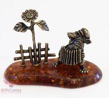Bronze Solid Brass Amber Figurine Wolf sitting w garmon sunflower folk story
