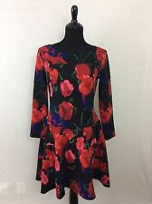Ivanka Trump dress Black multicolored floral dress long sleeved size 10