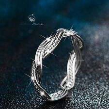 18K White Gold Rope Weave Ring open free size fashion