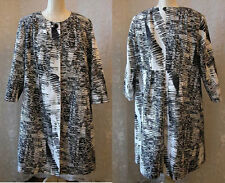 NWT Marina Rinaldi Print Long Coat Jacket Black White Made In Italy $1070.00