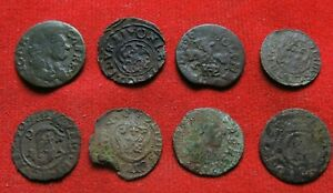 Ancient bronze coins of Poland 17th century