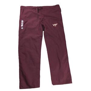 New GEL SCRUBS Workwear Bottoms Pants Wine Color VT Logo Size L Large (42 x 30)