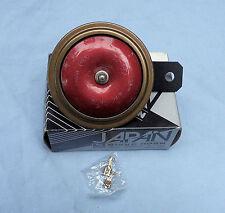 NIKKO 12V. 100MM  MOTORCYCLE HORN. COLOUR RED, GOLD & BLACK MADE IN JAPAN