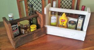 Condiment Caddy - Handmade Wood Sauce Beer Wine & cutlery Tote Holder W/ Handle
