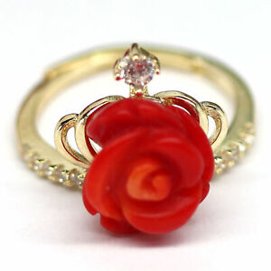 ROSE CARVED ORANGE CORAL & WHITE CZ RING 925 STERLING SILVER SIZE 5.25