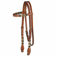 Western Natural Leather Shaped Browband Style Headstall with Hand Tooling