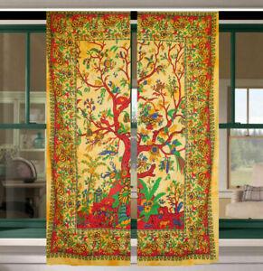Cotton Indian Wall Hanging Tree Of Life Design Small Curtain Door Window Drape