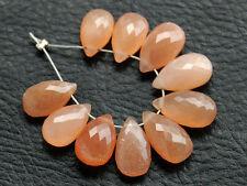 Natural Peach Moonstone Faceted Pear Briolette Semi Precious Gemstone Beads