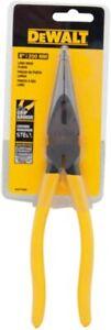 DeWalt Long Nose Pliers Chrome Vanadium Steel Grip Armor Yellow 8 in. DWHT70800