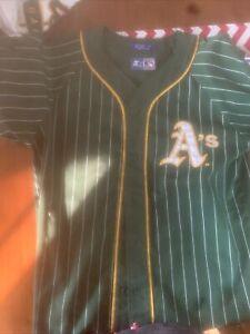 Starter Oakland Athletics Jersey! 90s pinstripe button up MLB Vintage (Medium)