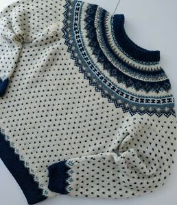 VINTAGE HEAVY WOOL NORDIC LOPAPEYSA STYLE HAND KNIT SWEATER JUMPER SIZE XS
