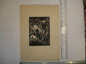 Sir Frank Brangwyn-- The Pickers - Original woodcut cut by H G Webb
