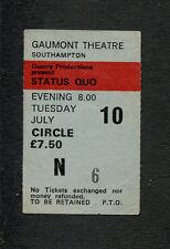 1980 Status Quo concert ticket stub Southampton Uk Just Supposin Matchstick Men