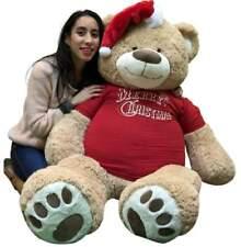 5 Foot Giant Xmas Teddy Bear Soft 60 Inch, Wears Merry Christmas Shirt Santa Hat