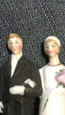 VINTAGE BISQUE BRIDE GROOM FIGURINE WEDDING CAKE TOPPER GERMANY