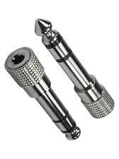 """3.5mm Jack Socket to 6.35mm 1/4"""" Stereo Jack Plug Adapter NICKEL METAL"""