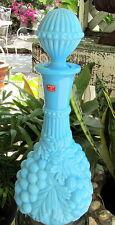 Retro Italian Aqua Milk Glass Decanter Genie Bottle W/ Grape Design