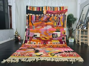 "Handmade Boujad Moroccan Vintage Rug 6'3x9'8"" Abstract Orange Pink Berber Carpet"