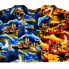 Hawaii Hemd Beach S - 6XL 100% Baumwolle Hawaiihemd blau orange Strand Hawaihemd