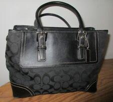 Coach 11220 Hamptons Black Signature Jacquard Leather Shoulder Purse Bag