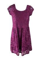 Dorothy Perkins Size 12 Burgandy Lace Short Sleeved Sheath Dress Knee Lgth Lined