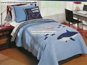 SHARK 6pcTwin Quilt ~ Great White Sharks ~ SHEETS ~ Shams Adorable NEW