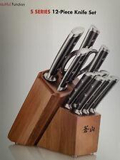 Cangshan S1 Series 12-piece Black Knife Set Forged German Steel Acaciawood Block