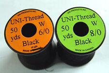 1 x 50 yards Fil montage UNI NOIR 6-0/8-0 truite peche mouche thread fly tying