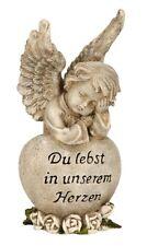 Engel auf Herz Spruchherz 18,5 cm Grabschmuck Grabdeko Grabstein Gedenkstein NEU