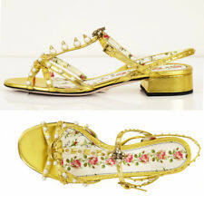 39 NEW $1250 GUCCI Gold Leather STUDDED PEARL CRYSTAL BEE Slingback SANDALS NIB