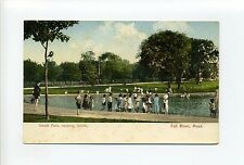 Fall River MA Mass South Park, children wading in water, antique postcard
