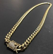 Men Cuban Miami Link Bracelet And Chain Set  Stainless Steel 10mm18k Gold