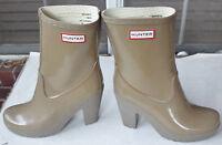"Rare Hunter Arnie Cafe 4"" Heel Rubber Rain Boots US10 EU42 UK8 EUC Gummistiefel"