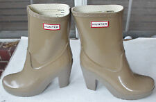 "Rare Hunter Arnie Cafe 4"" Heel Rubber Rain Boots US10 EU42 UK8 EUC Gummistiefel"