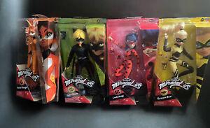NEW Miraculous Ladybug Dolls Set 4 Queen Bee Cat Noir Rena Rouge Zag Heroez BOX