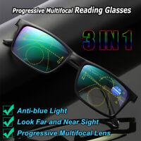 Multifocal Lens Presbyopia Eyeglasses Anti-blue Light Reading Glasses