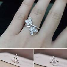 Fashion Women Romantic Two Butterflies Style Open Ring Silver Plated Finger Ring