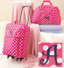 Girls Luggage Set Cloth Duffel Bag Rolling Suitcase Pink Travel Embroidered A