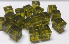 Lot 9 perles verre carrées 9mm kaki transparent //4