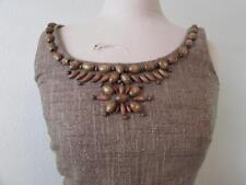 ANTONIO MELANI womens 4 brown gold linen sleeveless wood beaded dress FAB!