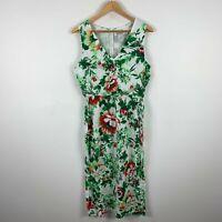 Sunny Girl Womens Dress 12 Green White Floral Sleeveless Zip Closure V-Neck