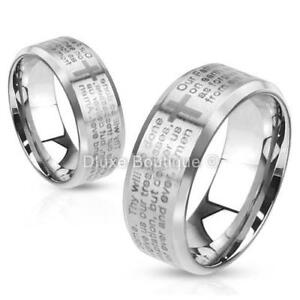 Stainless Steel 316L Lord's Prayer & Cross Beveled Edge Ring Band Size 5-13
