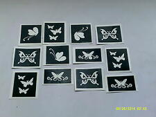 30 x butterfly themed stencils for glitter tattoos / airbrush / cakes