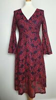 ABERCOMBIE & FITCH Red Lace Layered Long Sleeve Midi Skater Dress (UK Size 12)