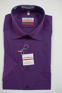 NEU - MARVELIS Herren 1/2-Arm Hemd - Modern Fit - Gr. 39 / 41 - violett - Cotton