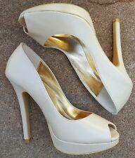 EUC!Colin Stuart Womens Sz 5 Leather High Heel Pumps Beige/Neutral/Nude Peep Toe