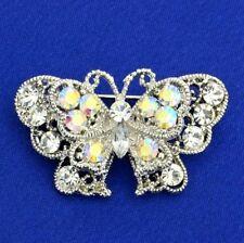 Butterfly W Swarovski Crystal AB Clear Charm Brooch Pin Jewelry Gift