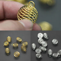 20 Pcs Gold Silver Tone Spiral Bead Cages Pendants Accessories 8x9mm